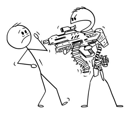 Vector cartoon stick figure drawing conceptual illustration of heavily armed man with generic futuristic weapon threatening unarmed man. Illusztráció
