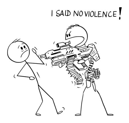 Vector cartoon stick figure drawing conceptual illustration of heavily armed man with generic futuristic weapon threatening unarmed man and saying I said no violence.