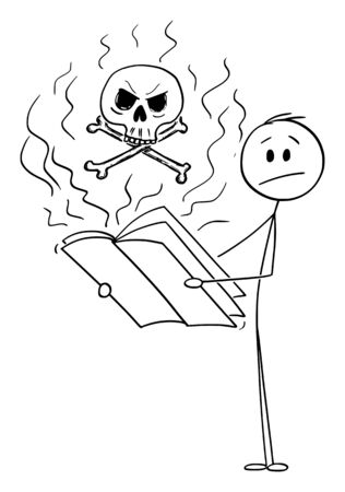 Vector cartoon stick figure drawing conceptual illustration of confused or shocked man reading magazine,journal or newspapers about war,crime, violence and death.