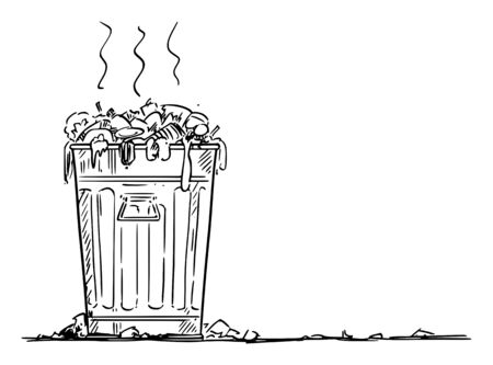 Vector cartoon drawing conceptual illustration of dirty waste container, trash bin or garbage can. Environmental concept.