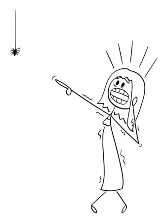 Vector cartoon stick figure drawing conceptual illustration of frightened woman or girl with arachnophobia watching small spider and undergoes panic attack.