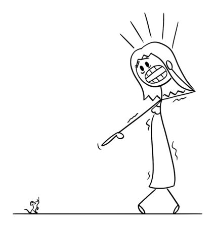 Vector cartoon stick figure drawing conceptual illustration of frightened woman or girl with musophobia watching small mouse or mice and undergoes panic attack.
