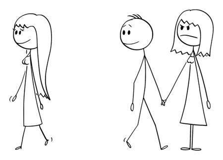 Vector cartoon stick figure drawing conceptual illustration of couple of boy and girl, or man and woman walking together while man likes another woman and watching her.