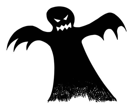 Vector drawing illustration of black silhouette of creepy or spooky Halloween ghost on white background.