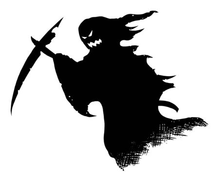Vector drawing illustration of black silhouette of creepy or spooky Halloween ghost with scythe or death grim reaper on white background.