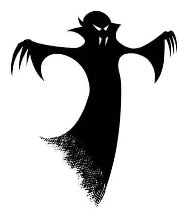 Vector drawing illustration of black silhouette of creepy or spooky Halloween ghost or undead vampire on white background.