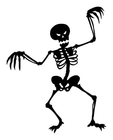 Vector drawing illustration of black silhouette of creepy or spooky Halloween skeleton on white background.