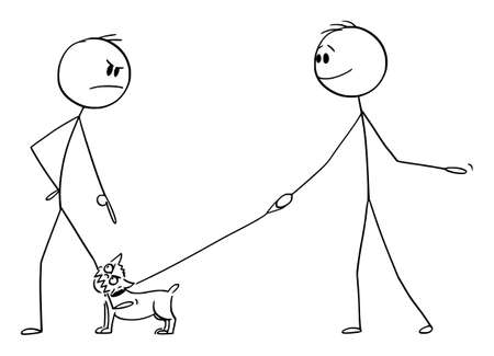 Vector cartoon stick figure drawing conceptual illustration of angry man with small aggressive dog or chihuahua on the leash or lead bite to his leg. Owner is smiling. 矢量图像