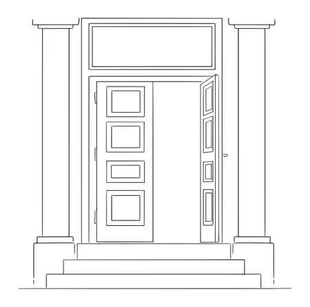 Vector cartoon drawing conceptual illustration of classic entrance or open door of bank building with pillars and stairs. Empty space for text above.