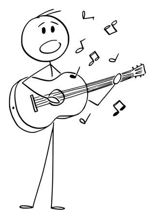 Vector cartoon stick figure drawing conceptual illustration of musician or singer playing music on acoustic guitar and singing a song.