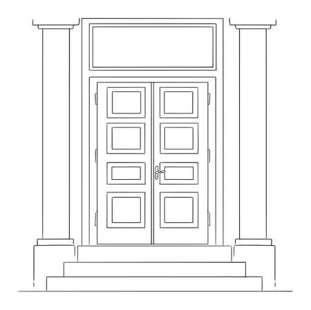 Vector cartoon drawing conceptual illustration of classic entrance or closed door of bank building with pillars and stairs. Empty space for text above.