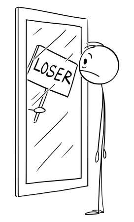 Vector cartoon stick figure drawing conceptual illustration of frustrated man with low confidence or self esteem looking at yourself in mirror with loser sign.