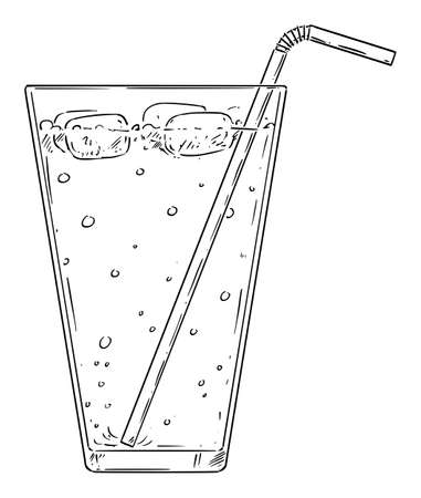 Vector cartoon drawing illustration of cold lemonade, cocktail or drink with straw and ice.