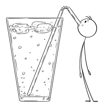 Vector cartoon stick figure drawing conceptual illustration of small man drinking cold lemonade, cocktail or drink with straw.