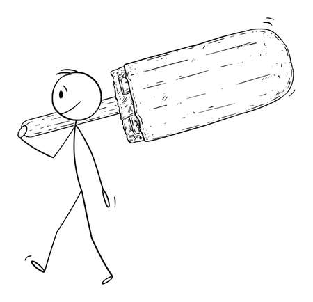 Vector cartoon stick figure drawing conceptual illustration of small man holding and carrying big  ice lolly.
