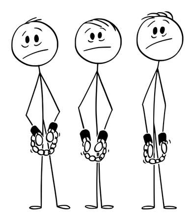 Vector cartoon stick figure drawing conceptual illustration of frustrated arrested men, gang or criminals, slaves or prisoners in chains or handcuffs or with shackles on hands. Illustration