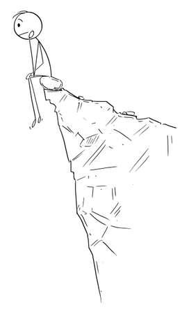 Vector cartoon stick figure drawing conceptual illustration of frustrated sad man sitting and thinking on the edge of the cliff or abyss.
