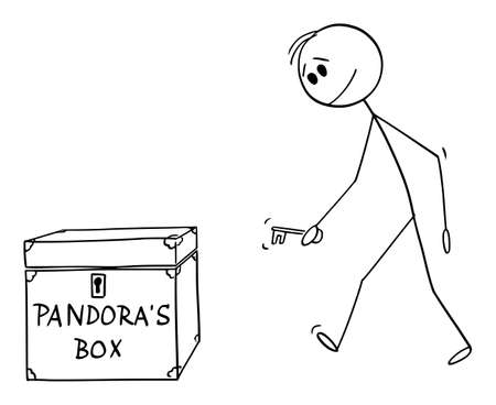 Vector cartoon stick figure drawing conceptual illustration of man or businessman walking with key to open Pandoras box. Illustration