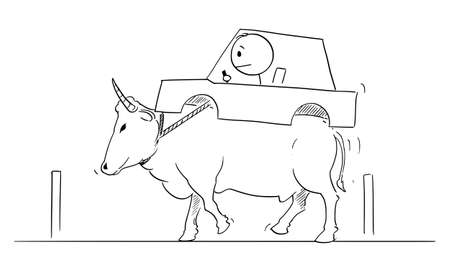 Vector cartoon stick figure drawing conceptual illustration of man driving car carried on back of ox or bull. Concept of ecology, environment or shortage of gas or gasoline.