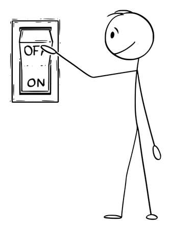 Vector cartoon stick figure drawing conceptual illustration of man or businessman ready to push or press the on off switch button. Illustration