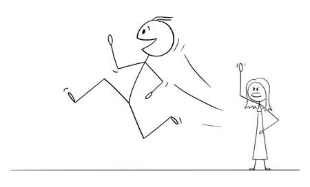 Vector cartoon stick figure drawing conceptual illustration of happy smiling man or husband running and leaving wife or woman. 矢量图像