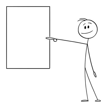 Vector cartoon stick figure drawing conceptual illustration of smiling positive man or businessman pointing at or showing empty or blank vertical sign.