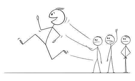 Vector cartoon stick figure drawing conceptual illustration of smiling worker, man or businessman running away from angry crowd or mob or coworkers or job managers. Leaving job, employment concept.