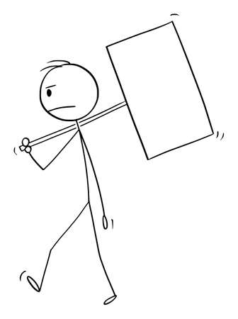 Vector cartoon stick figure drawing conceptual illustration of frustrated man or businessman walking with empty or blank sign on pole. Illustration