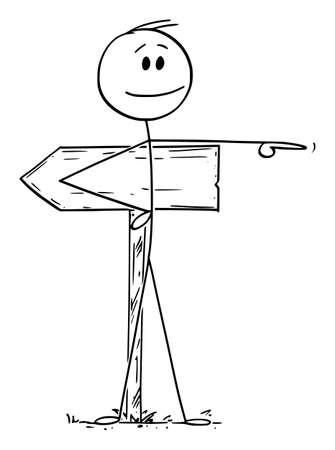 Vector cartoon stick figure drawing conceptual illustration of man or businessman pointing at opposite direction than road sign. Different way, decision, individuality concept.