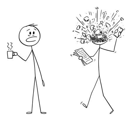 Vector cartoon stick figure drawing conceptual illustration of man, office worker or businessman manager at work. His head exploded from stress or overwork.