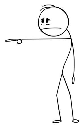Vector cartoon stick figure drawing conceptual illustration of sad, tire, stressed, sick or depressed man or businessman pointing at or showing something.