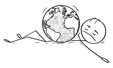 Vector cartoon stick figure drawing conceptual illustration of man, person, human being, politician or businessman Lying Dead on Ground Crushed by Earth world globe.