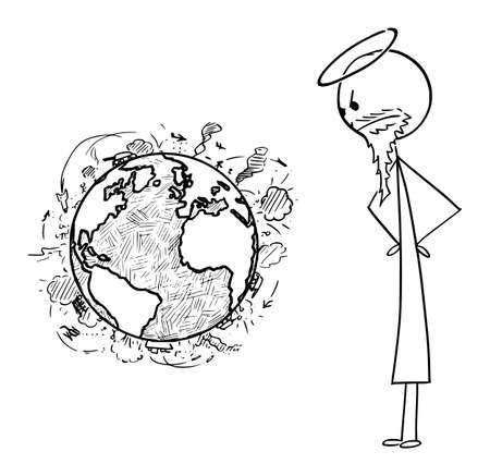 Vector cartoon stick figure drawing conceptual illustration of Christian god watching violence and wars on surface of planet Earth. Illustration