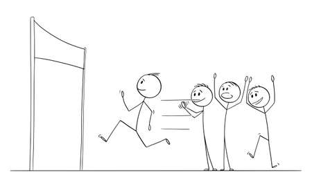 Vector cartoon stick figure drawing conceptual illustration of man or businessman running to finish the race for success, victory on finish line, challenge concept. Crowd of coworkers is applauding, Ilustração