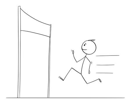 Vector cartoon stick figure drawing conceptual illustration of man or businessman running to finish the race for success, victory on finish line, challenge concept. Illustration