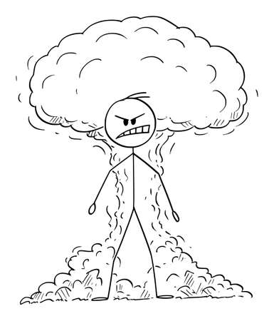 Vector cartoon stick figure drawing conceptual illustration of furious, angry raging man expressing his emotion with atomic or nuclear explosion on background.