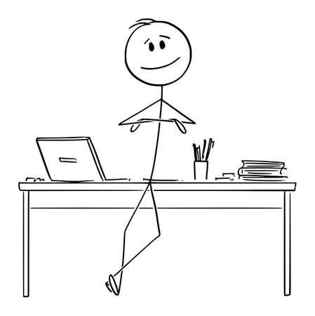 Vector cartoon stick figure drawing conceptual illustration of successful, happy and confident man, entrepreneur or businessman leaning towards office desk with arms crossed.