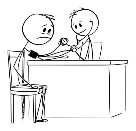 Vector cartoon stick figure drawing conceptual illustration of sick man with poor health and medical doctor measuring him blood pressure.