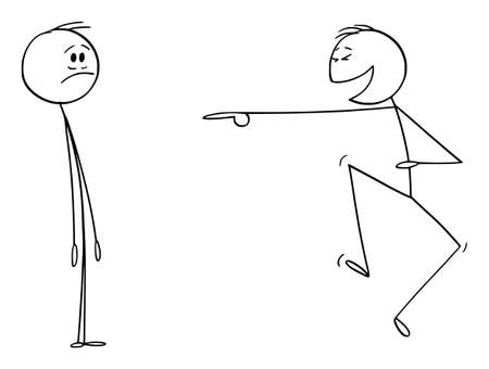 Vector cartoon stick figure drawing conceptual illustration of frustrated man or businessman and another man laughing him. Concept or mockery or ridicule on workplace.