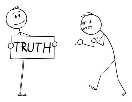 Vector cartoon stick figure drawing conceptual illustration of confident person facing aggressive angry violent man with truth sign in hands. Illustration