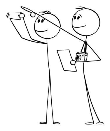 Vector cartoon stick figure drawing conceptual illustration of two tourists with cameras pointing and looking at historic sight or building and reading about in information booklet, brochure or paper.