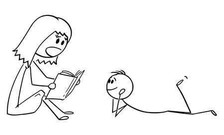 Vector cartoon stick figure drawing conceptual illustration of mother or parent reading book to his son or child.