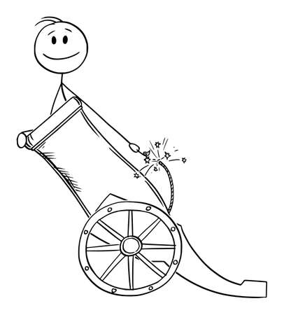 Vector cartoon stick figure drawing conceptual illustration of man or businessman in cannon as cannonball ready to go high for success, career or business concept. 矢量图像