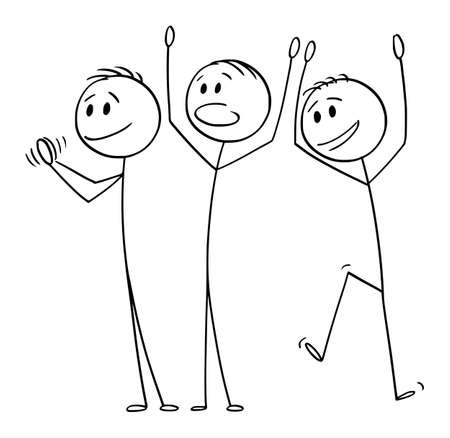 Vector cartoon stick figure drawing conceptual illustration of group of three happy men or businessmen celebrating success, applauding and clapping.