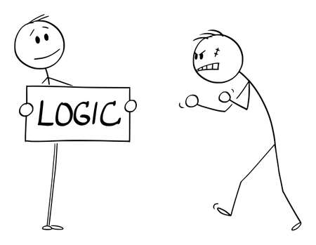 Vector cartoon stick figure drawing conceptual illustration of confident person facing aggressive angry violent man with logic sign in hands.
