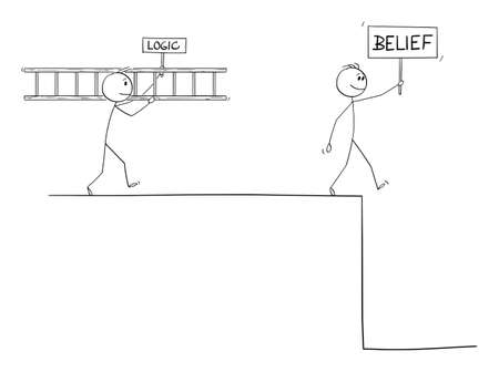 Vector cartoon stick figure drawing conceptual illustration of man with faith or belief hoping in help of superior power, predestination, god or luck, intelligent man of logic is looking for problem solution.