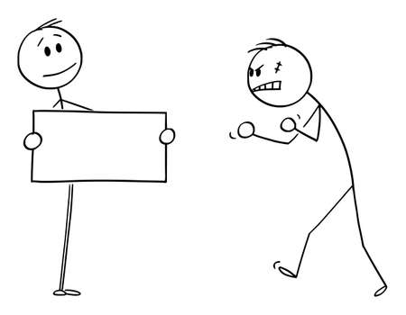 Vector cartoon stick figure drawing conceptual illustration of confident person facing aggressive angry violent man with empty sign in hands.