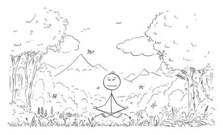 Vector cartoon stick figure drawing conceptual illustration of man meditating surrounded by nature, trees, flowers, plants, birds and butterflies.