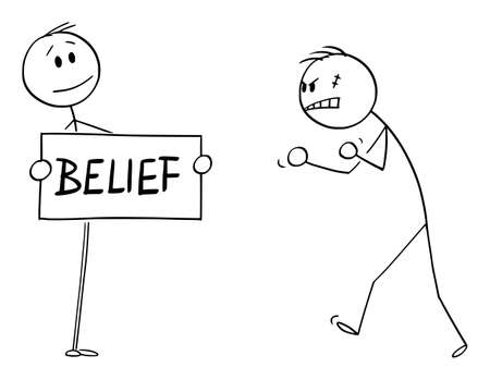 Vector cartoon stick figure drawing conceptual illustration of confident person facing aggressive angry violent man with belief sign in hands. Illustration