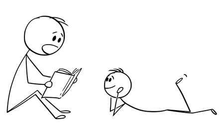 Vector cartoon stick figure drawing conceptual illustration of father or parent reading book to his son or child.